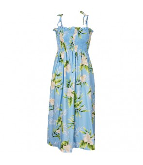 Hawaiian Rayon Tube Top Mid-Length Dress [ Orchid Fern ] Light Blue