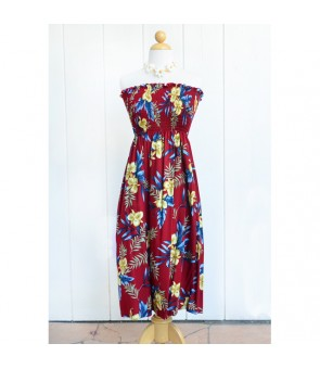 Hawaiian Rayon Tube Top Mid-Length Dress [ Orchid Fern ] Red