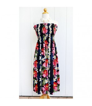 Hawaiian Rayon Tube Top Mid-Length Dress [ Plumeria Orchid Panel ] Navy
