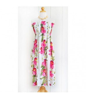 Hawaiian Rayon Tube Top Mid-Length Dress [ Plumeria Orchid Panel ] White