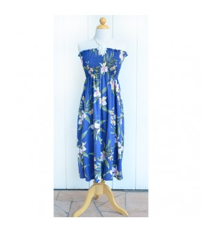 Hawaiian Rayon Tube Top Mid-Length Dress [ Pali Orchid ] Blue