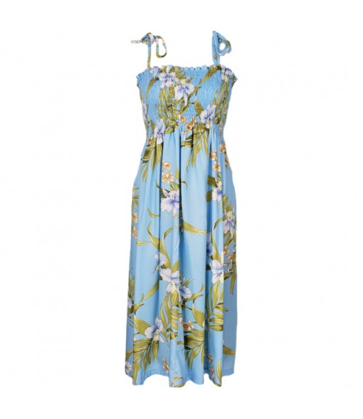 Hawaiian Rayon Tube Top Mid-Length Dress [ Pali Orchid ] Light Blue