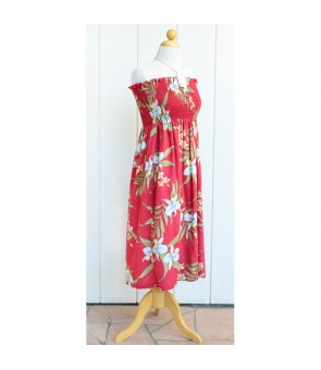Hawaiian Rayon Tube Top Mid-Length Dress [ Pali Orchid ] Red