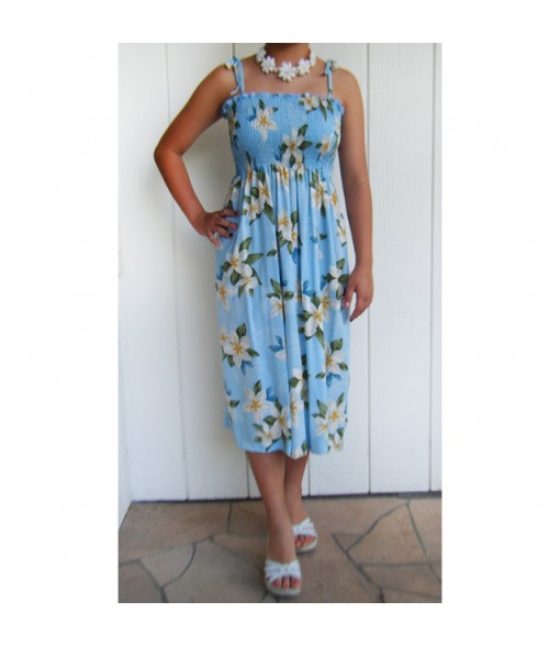 Hawaiian Rayon Tube Top Mid-Length Dress [ Plumeria Shower ] Blue