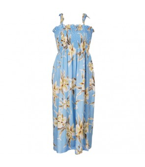 Hawaiian Rayon Tube Top Mid-Length Dress [ Retro Orchid ] Light Blue