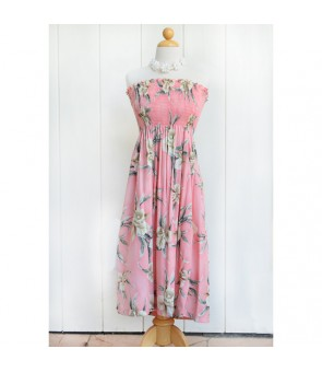 Hawaiian Rayon Tube Top Mid-Length Dress [ Retro Orchid ] Pink