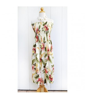 Hawaiian Rayon Tube Top Mid-Length Dress [ Sonic ] Beige