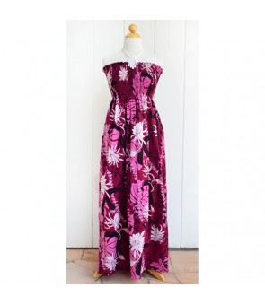 Hawaiian Cotton Tube Top Long Dress [ Makapu'u ] Purple