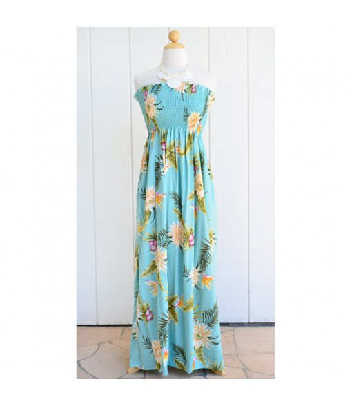 Hawaiian Rayon Tube Top Long Dress [ Ceres ] Green