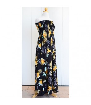 Hawaiian Rayon Tube Top Long Dress [ Fern Hibiscus ] Black