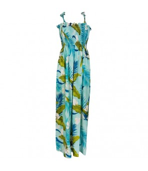 Hawaiian Rayon Tube Top Long Dress [ Ginger ] Aqua