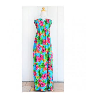 Hawaiian Rayon Tube Top Long Dress [ Hibiscus Watercolor ] Blue