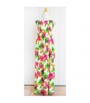 Hawaiian Rayon Tube Top Long Dress [ Hibiscus Watercolor ] White