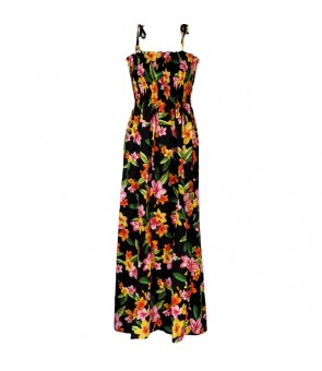 Hawaiian Rayon Tube Top Long Dress [ Happy Plumeria ] Black