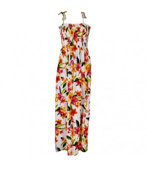 Hawaiian Rayon Tube Top Long Dress [ Happy Plumeria ] White