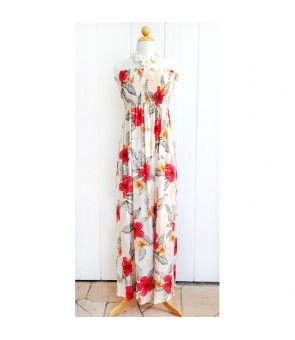 Hawaiian Rayon Tube Top Long Dress [ Leilani ] Cream