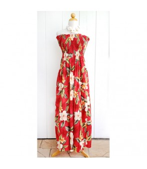 Hawaiian Rayon Tube Top Long Dress [ Leilani ] Red
