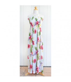 Hawaiian Rayon Tube Top Long Dress [ Monstera ] Cream