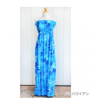 Hawaiian Rayon Tube Top Long Dress [ Moonlight Scenic ] Blue