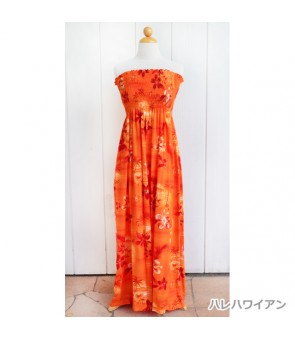 Hawaiian Rayon Tube Top Long Dress [ Moonlight Scenic ] Orange
