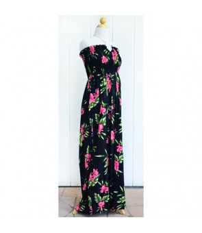 Hawaiian Rayon Tube Top Long Dress [ Orchid Fern ] Black