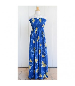 Hawaiian Rayon Tube Top Long Dress [ Orchid Fern ] Blue