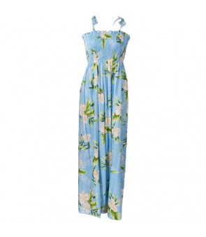 Hawaiian Rayon Tube Top Long Dress [ Orchid Fern ] Light Blue