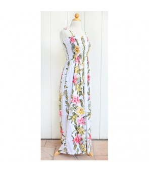 Hawaiian Rayon Tube Top Long Dress [ Orchid Panel ] White
