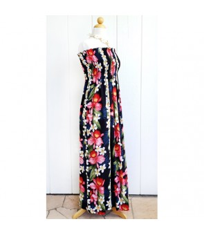 Hawaiian Rayon Tube Top Long Dress [ Plumeria Orchid Panel ] Navy