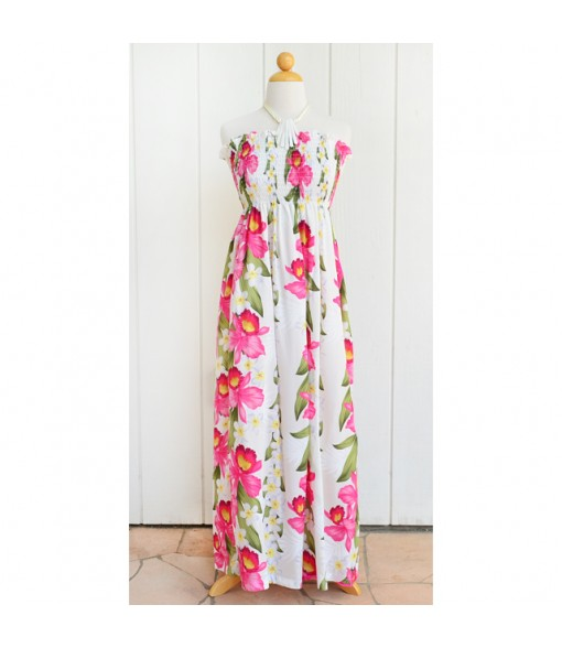 Hawaiian Rayon Tube Top Long Dress [ Plumeria Orchid Panel ] White