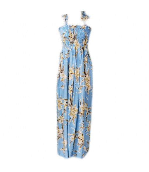 Hawaiian Rayon Tube Top Long Dress [ Retro Orchid ] Light Blue