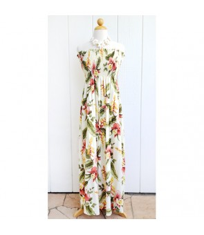 Hawaiian Rayon Tube Top Long Dress [ Sonic ] Beige
