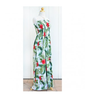 Hawaiian Rayon Tube Top Long Dress [ Wailua ] White