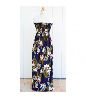 Hawaiian Rayon Tube Top Long Dress [ Hawaiian Orchid ] Navy