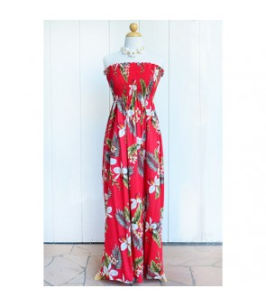 Hawaiian Rayon Tube Top Long Dress [ Hawaiian Orchid ] Red