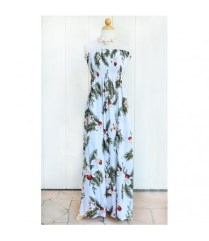 Hawaiian Rayon Tube Top Long Dress [ Hawaiian Orchid ] White