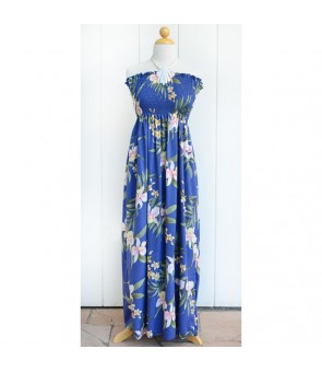 Hawaiian Rayon Tube Top Long Dress [ Pali Orchid ] Blue