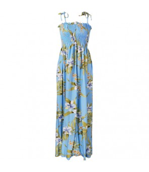 Hawaiian Rayon Tube Top Long Dress [ Pali Orchid ] Light Blue