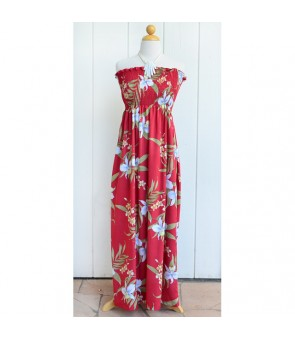 Hawaiian Rayon Tube Top Long Dress [ Pali Orchid ] Red