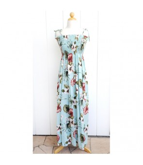 Hawaiian Rayon Tube Top Long Dress [ Hibiscus & Monstera ] Light Blue