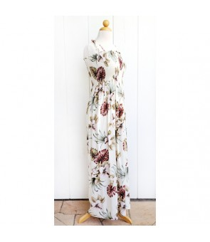 Hawaiian Rayon Tube Top Long Dress [ Hibiscus & Monstera ] Ivory