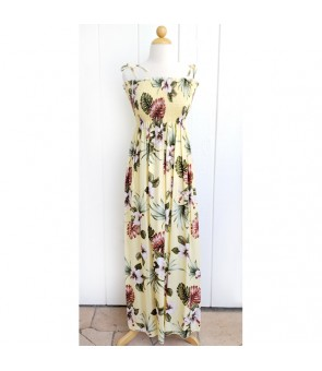 Hawaiian Rayon Tube Top Long Dress [ Hibiscus & Monstera ] Light Yellow