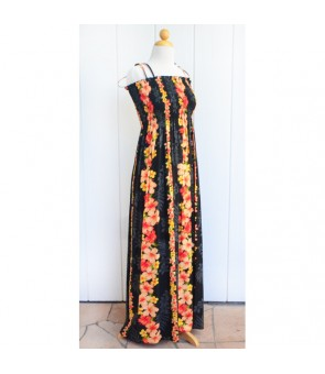 Hawaiian Rayon Tube Top Long Dress [ Hibiscus Panel ] Black
