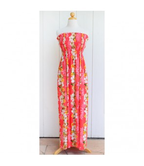 Hawaiian Rayon Tube Top Long Dress [ Hibiscus Panel ] Coral