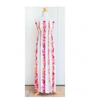 Hawaiian Rayon Tube Top Long Dress [ Hibiscus Panel ] White