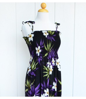 Hawaiian Rayon Tube Top Long Dress [ Lani Plumeria ] Black