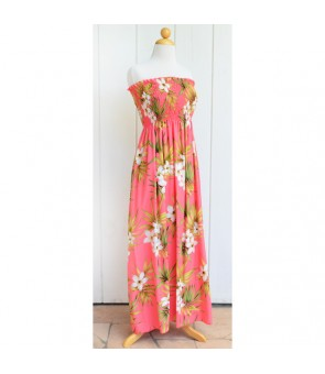 Hawaiian Rayon Tube Top Long Dress [ Lani Plumeria ] Coral