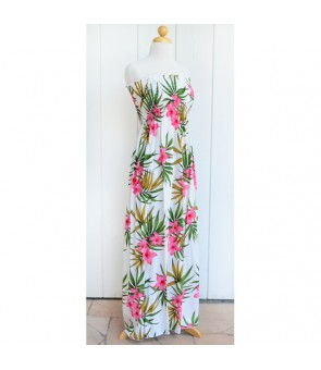 Hawaiian Rayon Tube Top Long Dress [ Lani Plumeria ] White