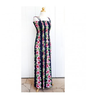 Hawaiian Rayon Tube Top Long Dress [ Pink Hibiscus ] Navy