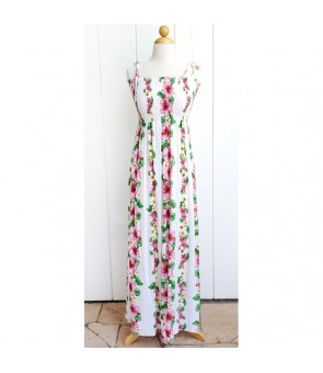 Hawaiian Rayon Tube Top Long Dress [ Pink Hibiscus ] White